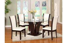 camelia 5 piece white round table chair set by crown mark at old brick furniture