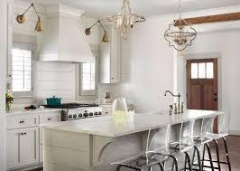 modern farmhouse kitchen with shiplap backsplash shiplap island and white shaker cabinets modern farmhouse