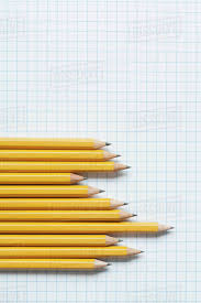 Grouping Of Yellow Pencils In Graph Shape On Graph Paper D1028_38_795
