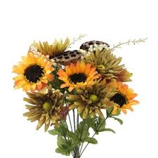 office floral arrangements. 14 stems artificial sunflower gerbera daisy and lotus root mixed flowers bush for home office floral arrangements