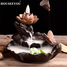 <b>Creative Green Plant</b> Burner Waterfall Incense Holder Lotus ...