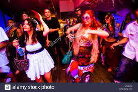 Rave Theme Party Young People Dancing At A Neon Voodoo Tribal Themed Rave Dance