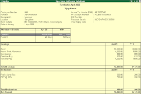 Format Salary Slip Impressive Payroll Pay Slip Report L TallyERP 44 WwwTallyERP44BookCom
