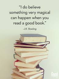 """Picture of a stack of books with the following quote from J.K. Rowling: """"I do believe something very magical can happen when you read a good book."""""""