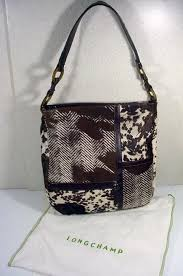 longchamp stenciled fur and leather handbag paris fourty fifty sixty ruby lane