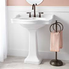 pedestal sink this oversized pedestal sink features a large basin top with plenty of counter space perfect for soap dispensers or other bath items