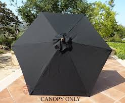patio umbrella replacement cover canopy 6 ribs black in 7 5 ft patio umbrella replacement