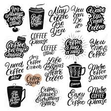 Set Of Hand Drawn Lettering Coffee Quotes Modern Brush Calligraphy