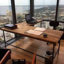 solid wood and steel office desk configured for your space of reclaimed wood and your choice of leg style ask us to make this in any size