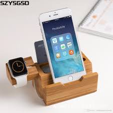 wood bamboo charging dock charger station bracket cradle stand holder for iwatch for apple iphone 5 5s 6 6 plus 7 plus wireless phone charging power bank