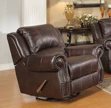 sir rawlinson swivel rocker recliner in burdy brown leather by coaster 650163 larger photo