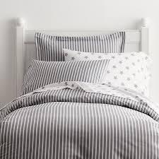 Aiden Gray Stripe Percale Duvet Cover / Sham