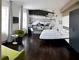 dark wood floor bedroom.  Floor Modeern Bedroom Design With Two White Bed Classic Race Wallpaper Desk Green  Sofa And Dark Wooden Floor Black Cabinet Image To Wood