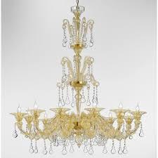 rezzonico 24k gold blown glass venetian chandelier with crystal pendants