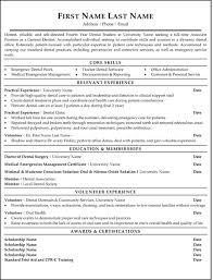 Resume Template Dentist Resume Sample Free Resume Template Format