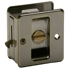privacy pocket door hardware. Ives By Schlage - Aluminum Privacy Pocket Door Lock In Antique Brass Hardware