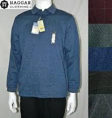 New Mens Haggar Premium Polo Long Sleeve Shirt Ultra Soft