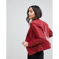 goosecraft bottom zip detail biker jacket in red firered 1216217 women s coats jackets yrmskxf