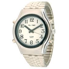 talking watches talking products talking watches clocks tel time mens chrome talking watch white face expansion band