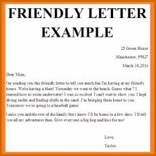 Friendly Letter Example 2018 Corner Of Chart And Menu
