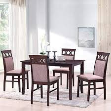 merax harper bright designs 5 piece dining set rubber wood dining table with 4 upholstered chairs