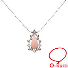 pink opal necklace lady s k18wg 2 6 g 18 karat gold white gold 750 color stone deep exemption from taxation a163320 with the colored stone