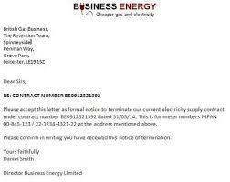 energy termination letter