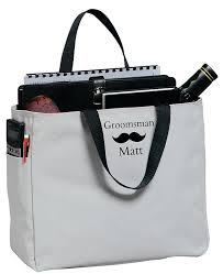 5 groomsmen gift tote bags mustache embroidery wedding gifts for men