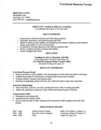 Functional Resume for Young Teacher Example