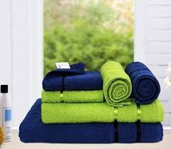 6 Piece 450 Gsm Cotton Towel Set Navy And Lime