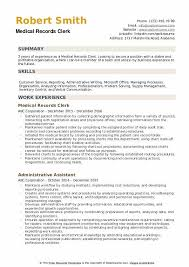 Sample Of Medical Records Medical Records Clerk Resume Samples Qwikresume