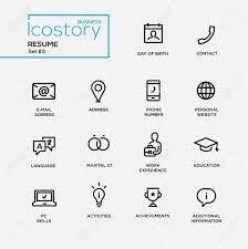 Free Resume Icons Set Of Modern Vector Plain Simple Thin Line Design Icons And 2
