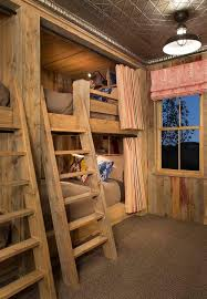 cool bunk beds built into wall. Rustic Bunk Beds Kids With Striped Curtains Tin Ceiling Wood Walls Cool Built Into Wall