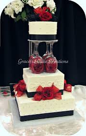 Elegant White Black And Red Wedding Cake In 2019 Cakes Wedding