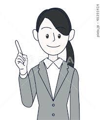 指でポイントを指し示す若い女性ビジネスマン上半身のイラスト素材