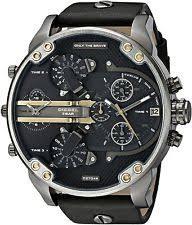 diesel watch brand new diesel daddy 2 0 chronograph black leather men watch dz7348