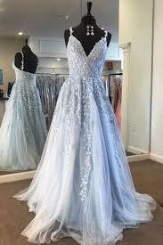 Long Light Dress Light Blue Lace Tulle Long Prom Dress Blue Formal Dress
