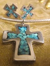 handmade 925 turquoise inlay cross pendant w silver necklace and earrings 1737188706