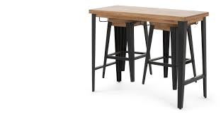 darby bar table and stools set mango wood and black  madecom