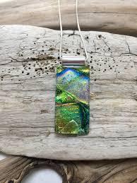 dichroic glass pendant handmade dichroic glass glass necklace dichroic glass fused glass handmade fused glass glass jewelry