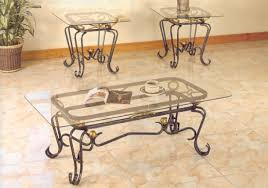 Coffee Table:Wrought Iron Glass Top Coffee Table Steve Silver Lola 3 Piece Set  Coffee