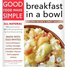 calories in breakfast in a bowl uncured bacon turkey sausage from good food made simple