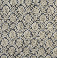 Colonial Patterns New Colonial Beige And Dark Blue Floral Damask Upholstery Fabric
