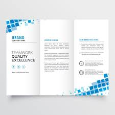 Brochure Template Tri Fold Clean Tri Fold Brochure Template Design With Blue Mosaic Effect