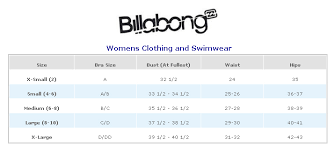 Top Of Page Billabong Clothing And Swimwear Size Chart On