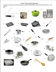 hand tool names. common food school hand tools and kitchen equipment tool names