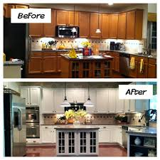 yellow and white painted kitchen cabinets. Before After Cabinet Refinishing Kit Decor With Gingerbread Painted Wooden Kitchen Cabinets, Pure White And Yellow Striped Cabinets