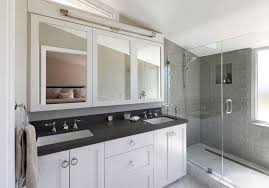 7 stars auto glass with contemporary bathroom and black countertop chrome glass shower enclosure gray subway tile marble shower curb mirror cabinet mosaic