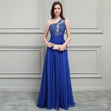 2018 <b>Elegant Blue</b> Chiffon Bridesmaid Dresses One Shoulder <b>Lace</b> ...