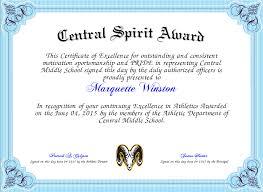 Principal Award Certificate Central Spirit Award Certificate Created With